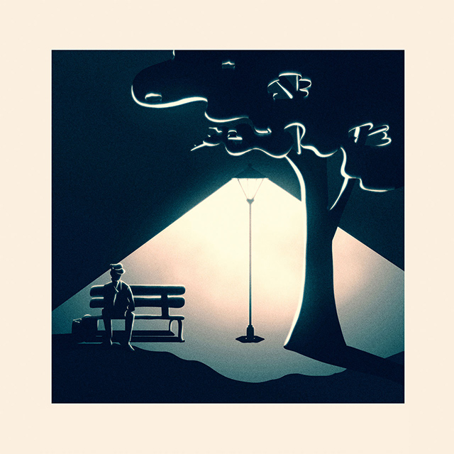 Album cover with a man sitting on a bench outside with street light shining bright making shadows