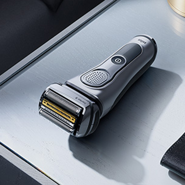 Series 9 silver body shaver in lifestyle