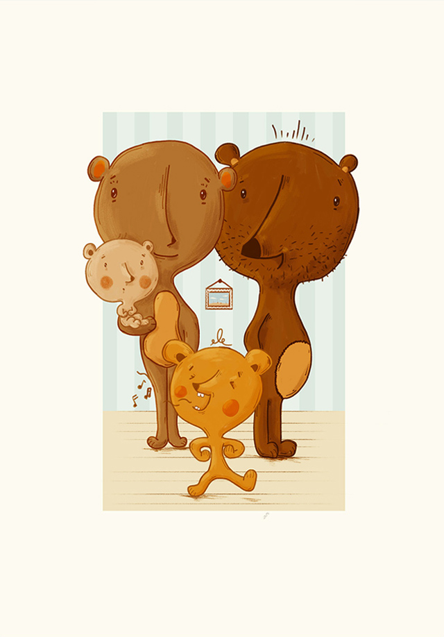Illustrated bear family with one little bear singing at the front
