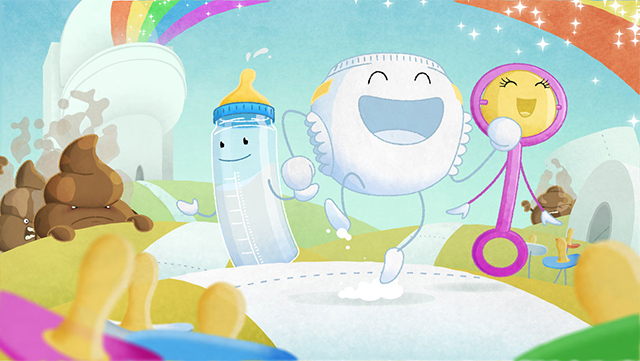 Illustrations with rainbows, baby bottle in character and poop character overlooking angry at them