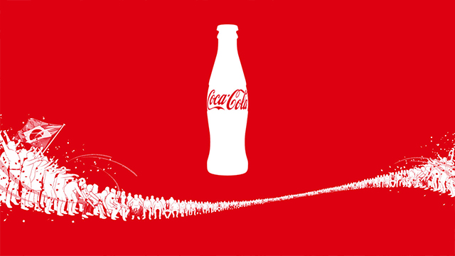 Coca-Cola bottle illustrated on red background with illustrated people