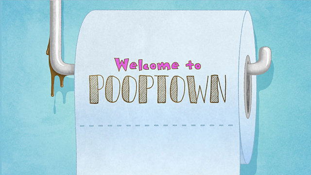 Toilet roll on stand with poop residue with text overlay - Welcome to Pooptown