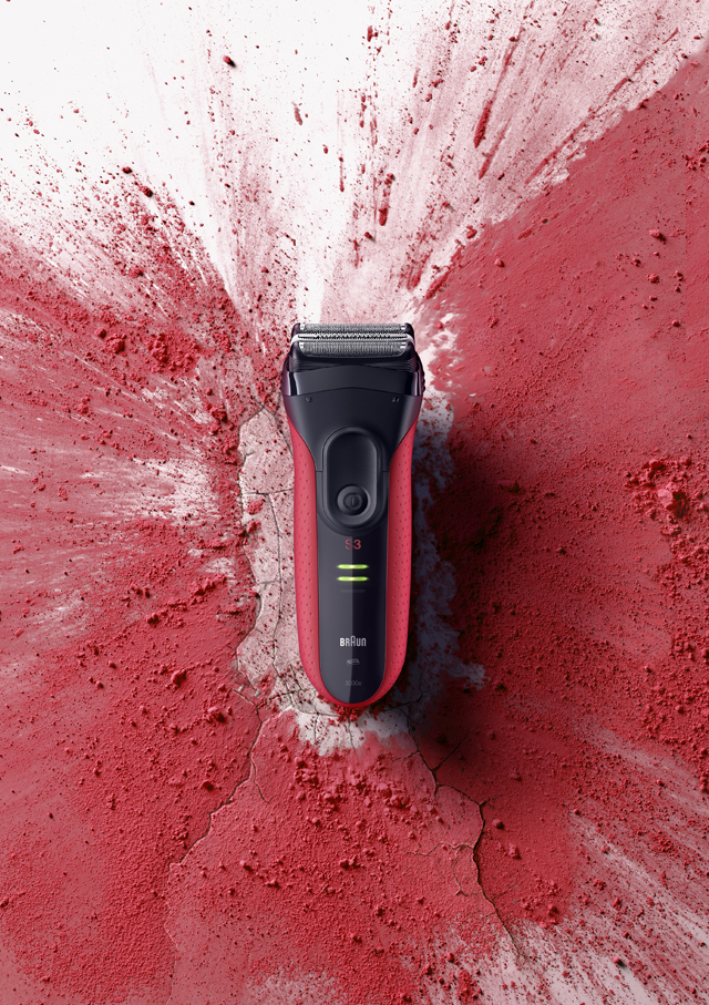 red shaver with red powder splash
