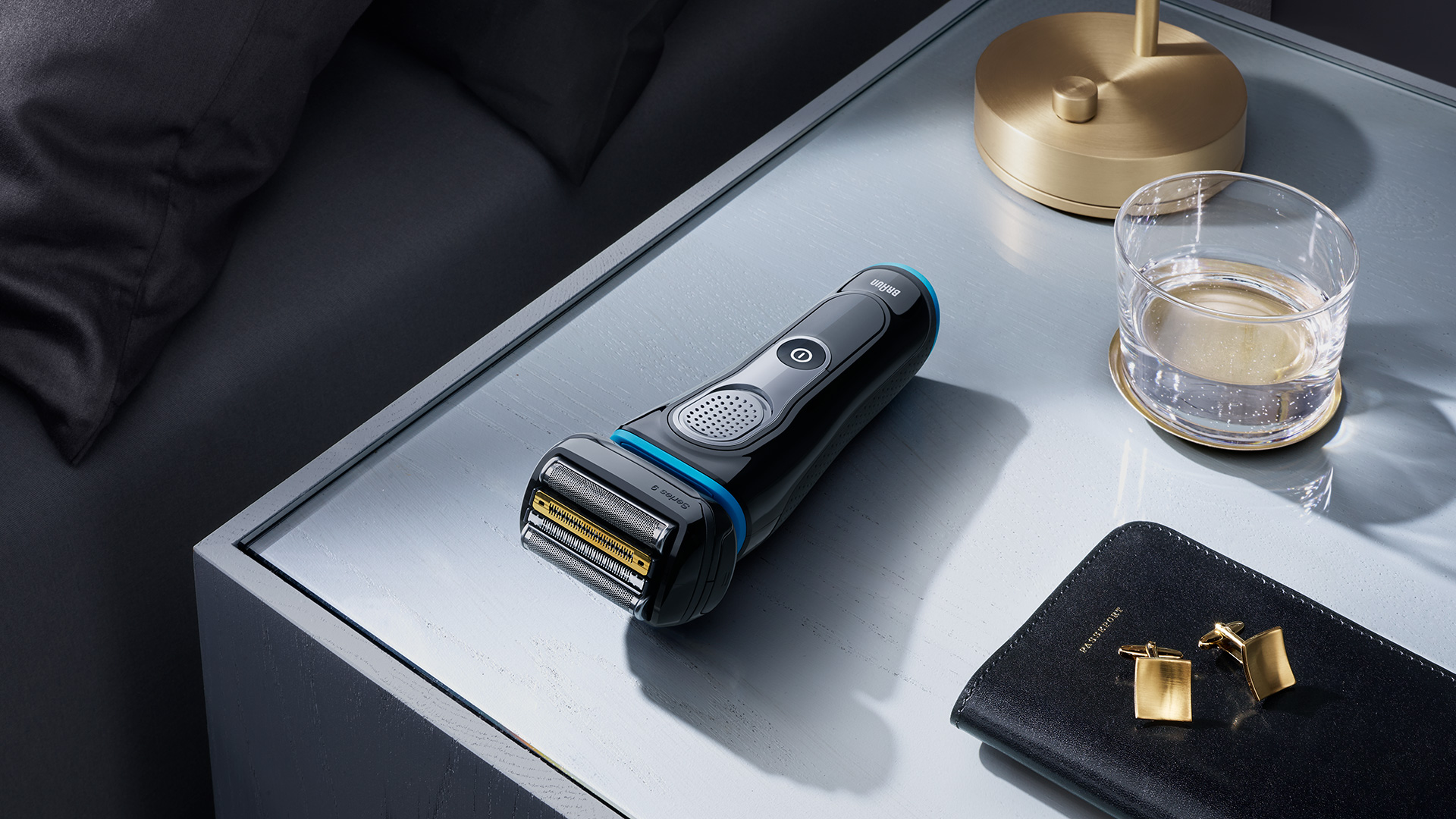 Series 9 black body blue liner shaver in lifestyle