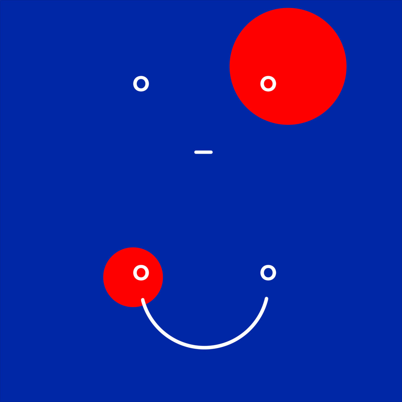 Album cover with blue background and two red dots and white lines making smile
