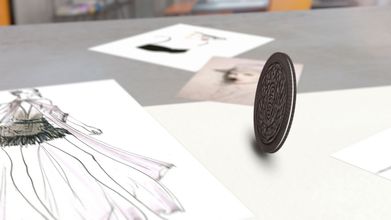 Cookie rolling on the desk with illustrated paper