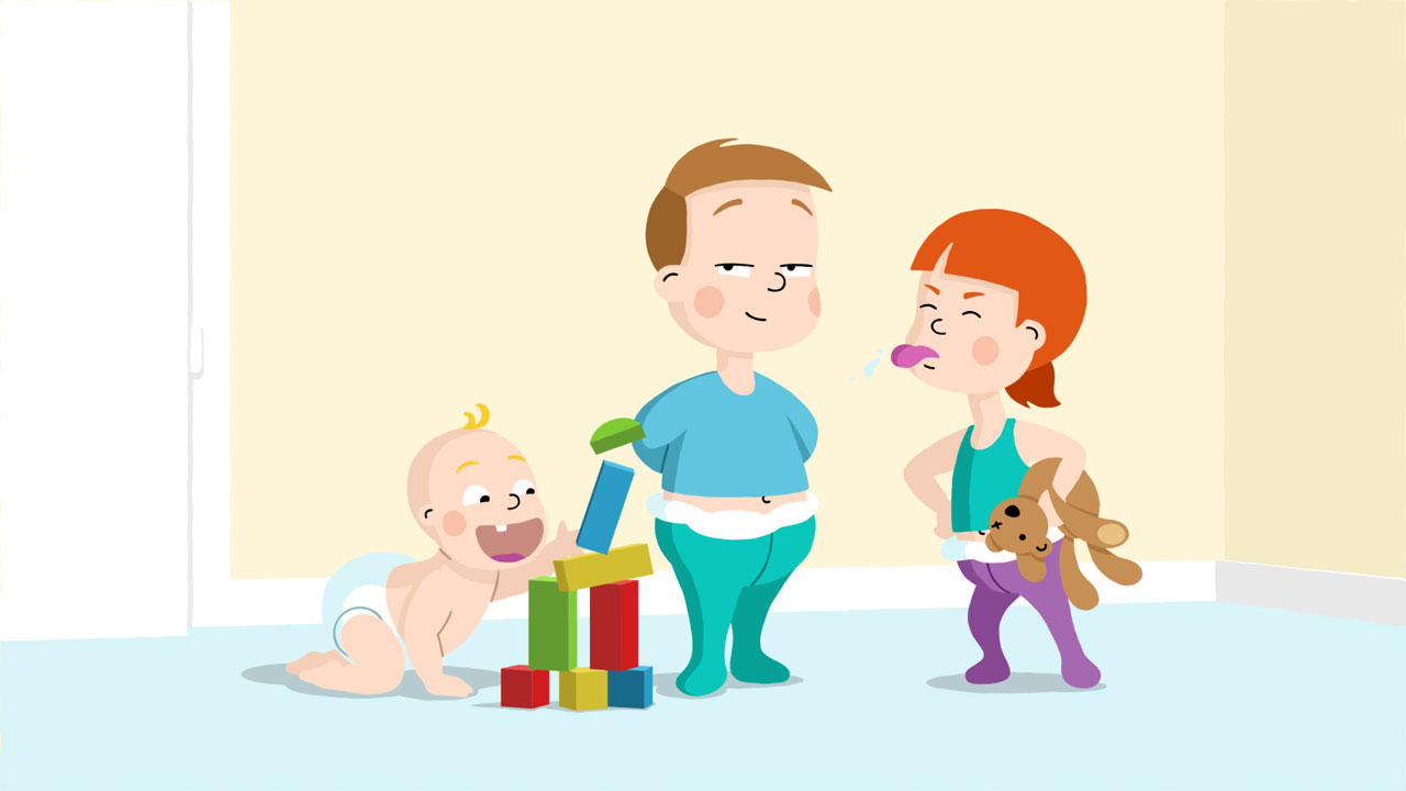 Illustration with baby stacking blocks with one boy and one girl character