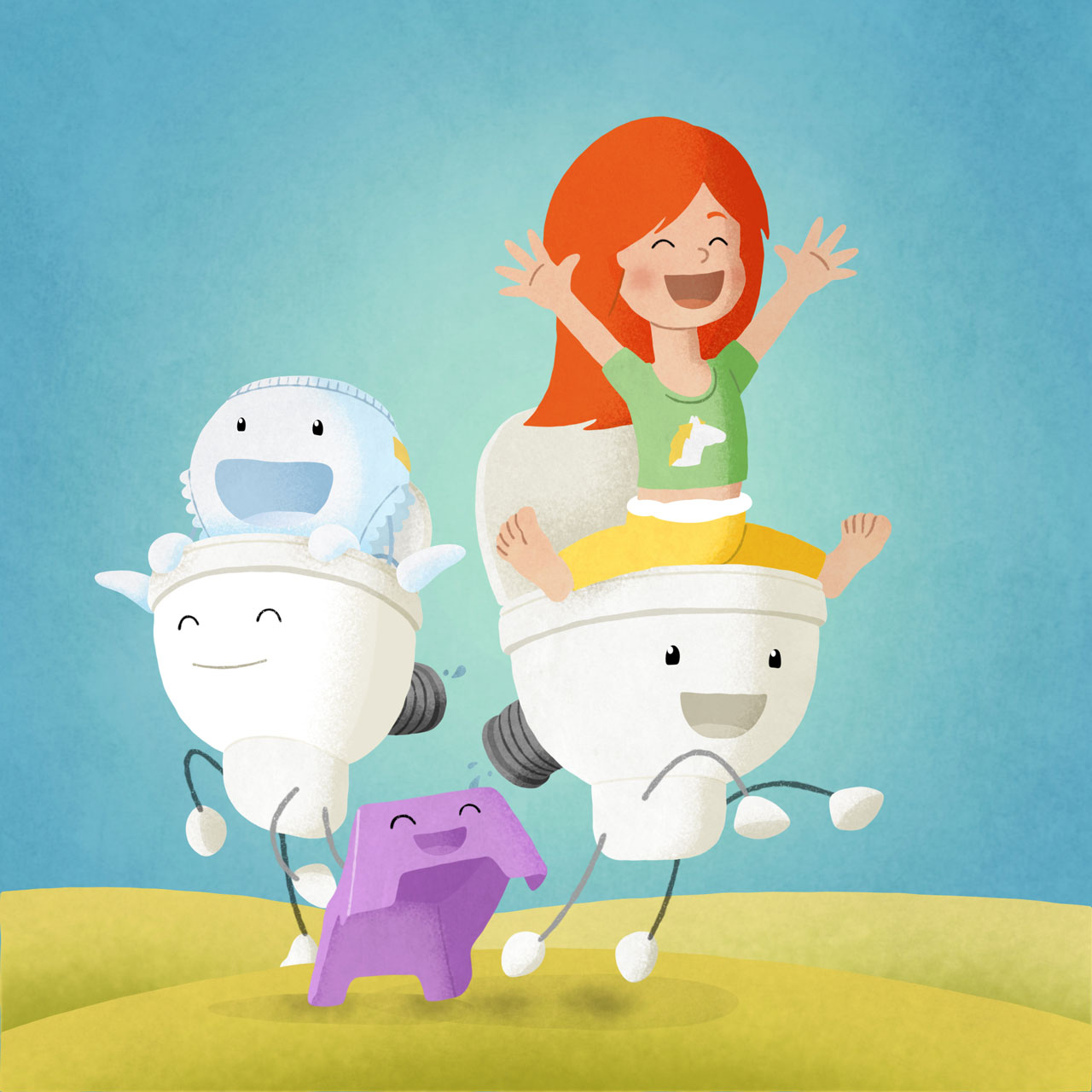 Red hair girl on a toilet characters cheering and being happy