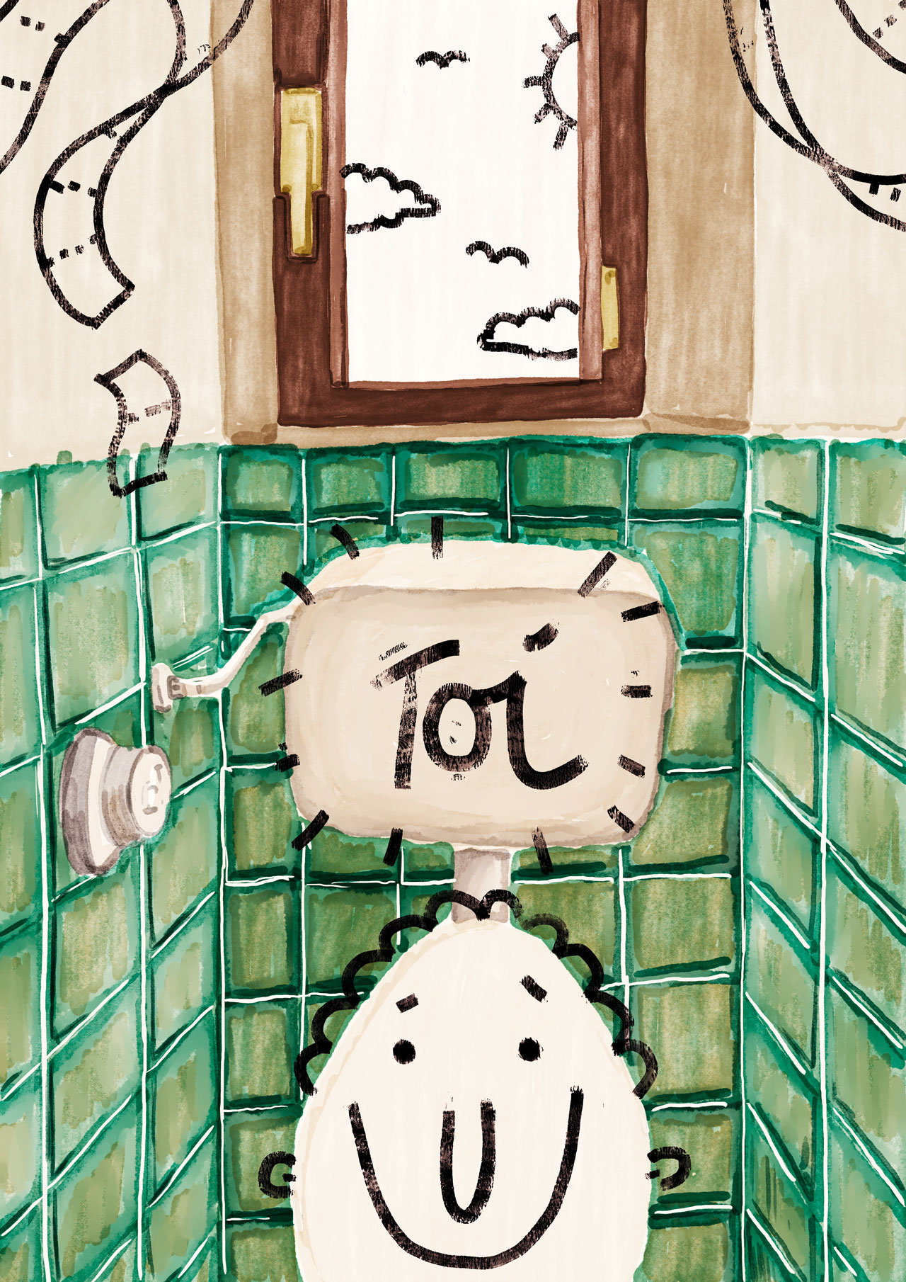 Illustrated toilet space with green tiles and 'toi' written overlay on toilet box